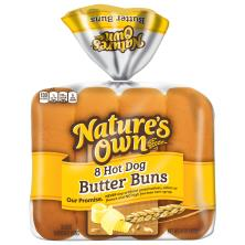 Natures Own Hot Dog Buns, Butter, Sliced