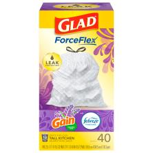 Glad Odor Shield Tall Kitchen Bags, Drawstring, Lavender, 13 Gal