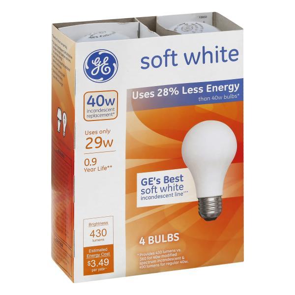 GE Light Bulbs, Incandescent, Soft White, 29 Watts