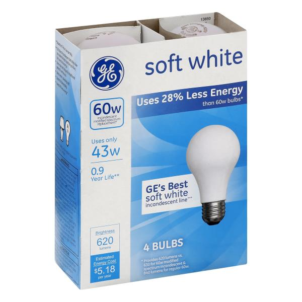GE Light Bulbs, Incandescent, Soft White, 43 Watts