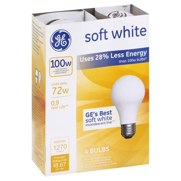 GE Light Bulbs, Incandescent, Soft White, 72 Watts