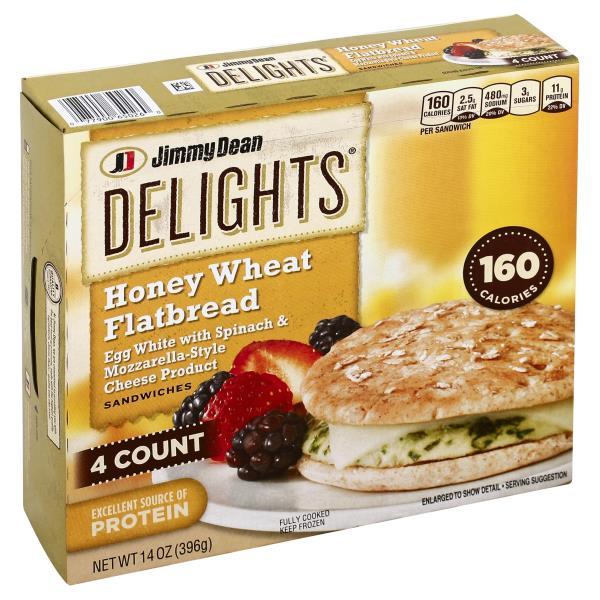 Jimmy Dean Delights Sandwiches Honey Wheat Flatbread Egg White