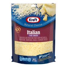 Kraft Natural Cheese, Finely Shredded, Italian, Five Cheese