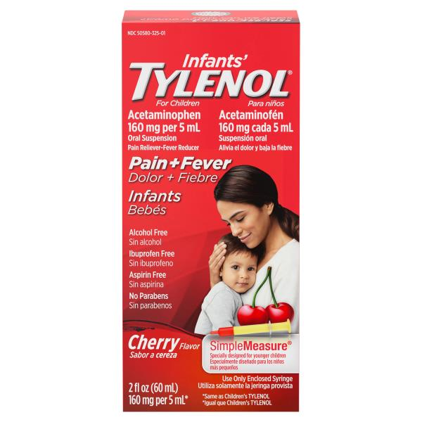 Tylenol Infants' Pain + Fever, 160 mg, Oral Suspension Cherry Flavor