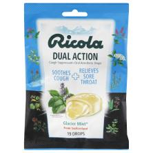 Ricola Cough Suppressant & Oral Anesthetic Drops, Dual Action, Glacier Mint