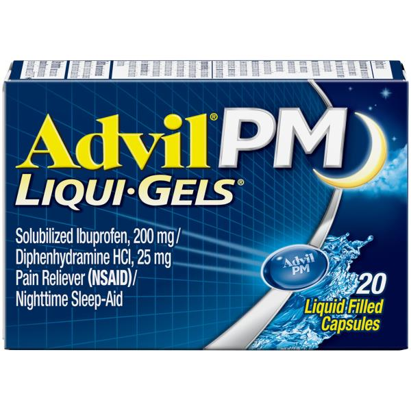 Advil PM Pain Reliever/Nighttime Sleep-Aid, Liquid Filled Capsules