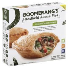 Boomerangs Aussie Pies, Handheld, Spinach & Mushroom
