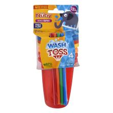 Nuby Wash or Toss Straw Cups, 10 oz, 12M+