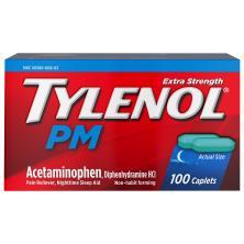 Tylenol PM Pain Reliever/Nighttime Sleep Aid, Extra Strength, Caplets