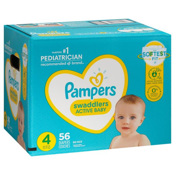 Pampers Swaddlers Diapers, Blankie Soft Heart Quilts, Size 4 (22-37 lb), Super Pack