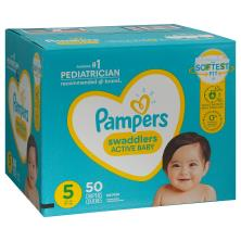 Pampers Diapers, Swaddlers, 5 (27+ lb), Super Pack