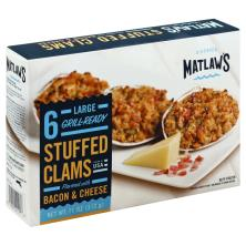Matlaws Stuffed Clams, Flavored with Back & Cheese, Large