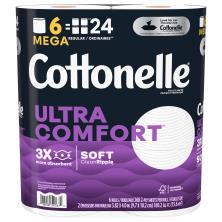 Cottonelle Ultra ComfortCare Toilet Paper, Mega Rolls, 2-Ply Sheets