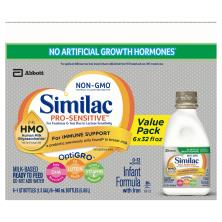 Similac Sensitive Infant Formula, with Iron, Milk-Based, Ready to Feed, Stage 1, Birth-12 Months