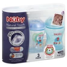 Nuby Natural Touch Bottles, Infant, 9 Ounce, 0+ Month
