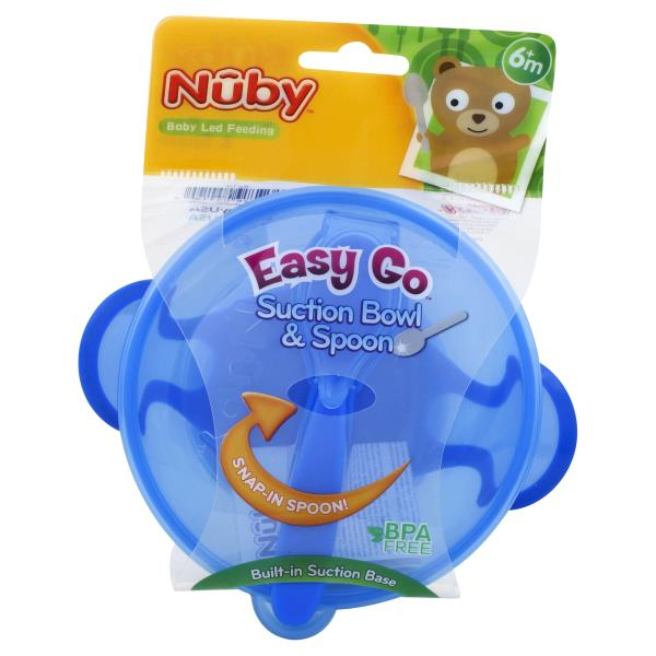 Nuby Bowl & Spoon, Suction, 6+ Months