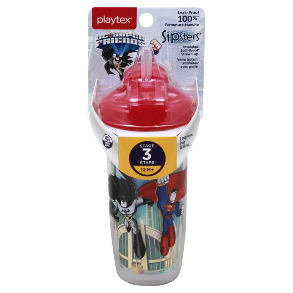Playtex Playtime Straw Cup, Insulated, DC Super Friends, 9 Ounce