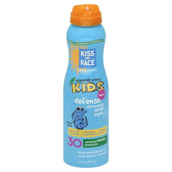 Kiss My Face Obsessively Natural Kids Sunscreen, Mineral, Defense, Spray Lotion, Broad Spectrum SPF 50, Natural Fresh Scent