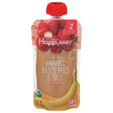 Happy Baby Organics Clearly Crafted Baby Food, Organic, Bananas, Raspberries & Oats, 2 (6+ Months)
