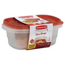 Rubbermaid Take Alongs Containers + Lids, Deep Rectangles, 8 Cups