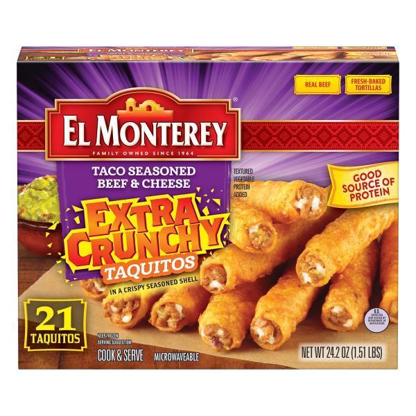 El Monterey Taquitos, Extra Crunchy, Taco Seasoned Beef & Cheese