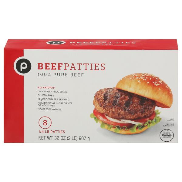 Publix Beef Patties, 100% Pure Beef