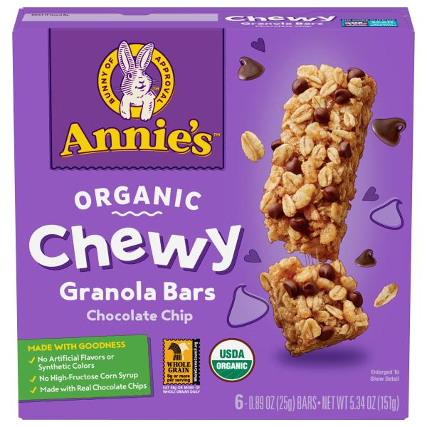 Annies Chewy Granola Bars, Organic, Chocolate Chip