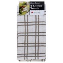 Ritz Kitchen Towels, Multi Check, Titanium, Ultra Absorbent