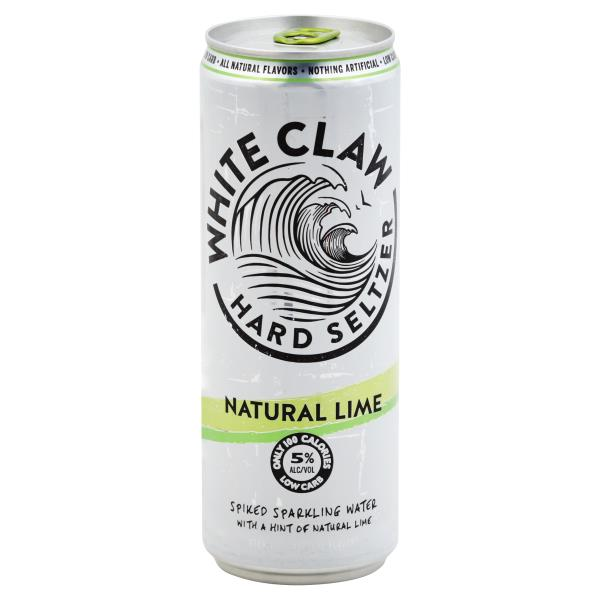 It is a picture of Exhilarating White Claw Hard Seltzer Label