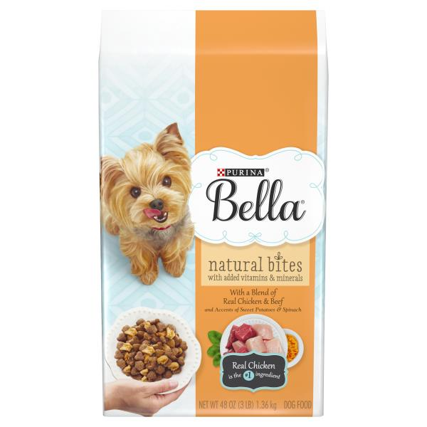 Bella Natural Bites Dog Food, with Real Chicken & Beef and Accents of Sweet Potatoes & Spinach