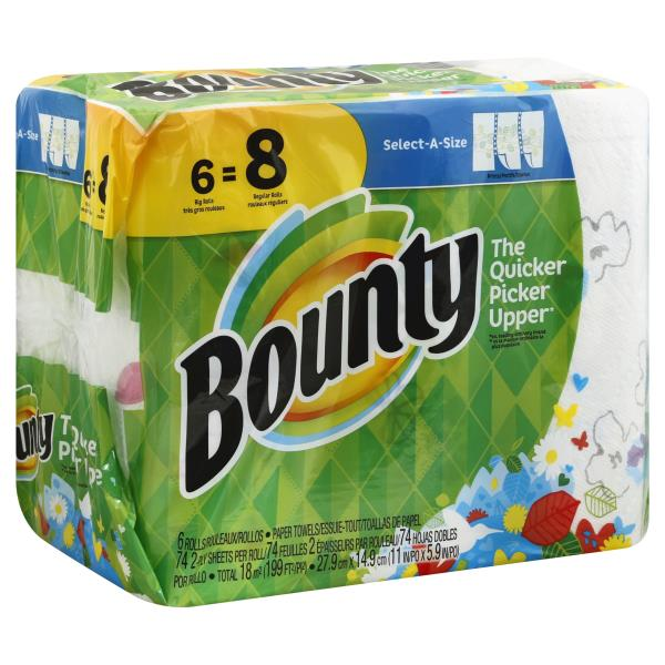 Bounty Full Sheet Paper Towels Giant Rolls: Bounty Paper Towels, Select-A-Size, Big Rolls, Prints, 2
