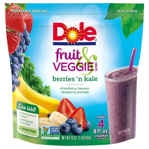 Dole Fruit Veggie Blends Smoothie Mix Berries N Kale Publixcom