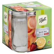 Ball Collection Elite Design Series Spiral Jars, Regular Mouth, with Lids and Bands, 16 Ounce