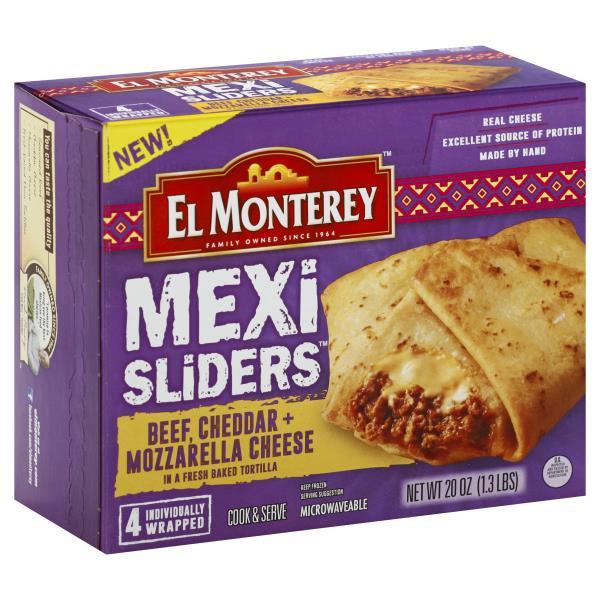 El Monterey Mexi Sliders, Beef, Cheddar + Mozzarella Cheese