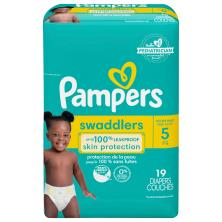 Pampers Swaddlers Diapers, Size 5 (27+ lb), Blankie Soft Heart Quilts, Jumbo Pack