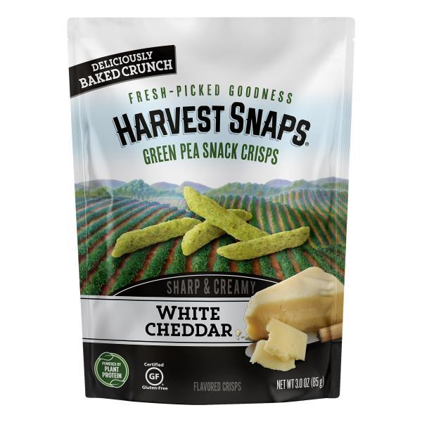 Harvest Snaps Green Pea Snack Crisps, White Cheddar