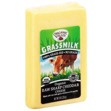 Organic Valley Cheese, Raw, Sharp, Cheddar, Grassmilk, Organic
