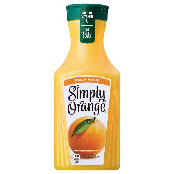 Simply Orange 100% Juice, Orange, Pulp Free