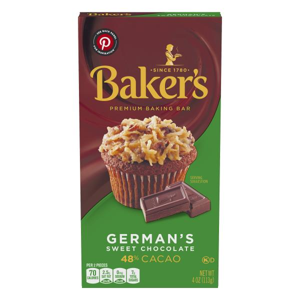Bakers Chocolate Baking Bar, Sweet, German's, 48% Cacao