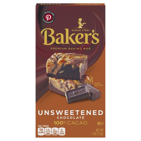 Bakers Baking Bar, Premium, Unsweetened Chocolate, 100% Cacao