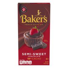 Bakers Baking Bar, Premium, Semi-Sweet Chocolate, 56% Cacao