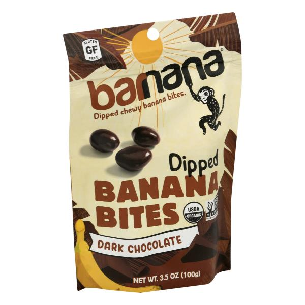 Barnana Banana Bites, Organic, Dark Chocolate, Chewy