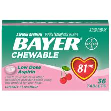 Bayer Aspirin, Low Dose, 81 mg, Chewable Tablets, Cherry Flavored