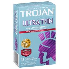Trojan Sensitivity Condoms, Premium Latex, Ultra Thin, Spermicidal Lubricant