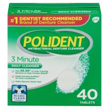 Polident Denture Cleanser, Antibacterial, 3 Minute, Tablets, Triple Mint Freshness