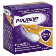 Polident Denture Cleanser, Antibacterial, Clean & Protect, for Partials, Tablets