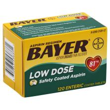 Bayer Aspirin, Low Dose, 81 mg, Enteric Coated Tablets