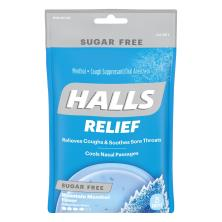Halls Cough Suppressant/Oral Anesthetic, Menthol, Sugar Free, Mountain Menthol Flavor