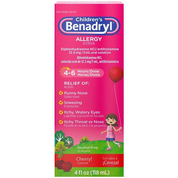 Benadryl Children's Allergy, 12.5 mg, Cherry Flavored Liquid
