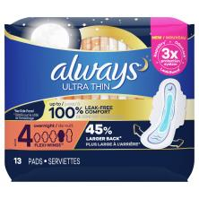 Always Pads, Ultra Thin, with Flexi-Wings, Overnight, Size 4